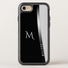 Elegant black white silver name and monogram OtterBox symmetry iPhone 8/7 case - chic design idea diy elegant beautiful stylish modern exclusive trendy