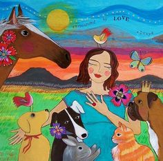 """Gorgeous. :: The artist Lori Portka shares, """"I made this painting as a custom order for my friend and pet sitter who is in the process of creating a life she loves working with animals and following her heart."""""""