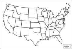 This printable map of the United States of America has blank lines ...