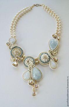 Купить Blue Sky - голубой, кремовый, золотой, сутаж, свадебное украшение, кальцит