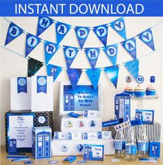 Dr Who Party DIY Printable Kit - INSTANT DOWNLOAD - Dr Who Inspired