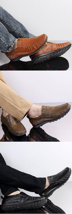 US$55.53 Big Size Men Genuine Leather British Style Soft Print Slip On Business Shoes