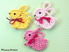Listing is for crochet embellishments, mix of colours. Each motif is between 5 cm x 3 cm wide and is made in a quality cotton yarn, which is soft and machine washable. Easter Crochet, Crochet Bunny, Cute Crochet, Crochet Motif, Crochet Animals, Crochet Leaves, Crochet Flowers, Crochet Gifts, Crochet Toys