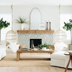 Hanging Rattan Chair neutral family room decor, modern farmhouse living room decor with colorful cem My Living Room, Living Room Decor, Living Spaces, White Room Decor, Home And Living, Living Area, Bedroom Decor, Style Deco, Piece A Vivre