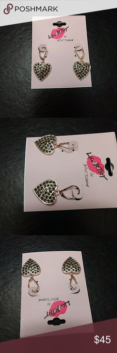 *Sale* Betsey Johnson rhinestone heart earrings These dangling hearts are rose gold colored and have rhinestones that give them a little sparkle. Betsey Johnson Jewelry Earrings