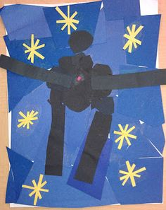 Student art work based on Matisse's Icarus.