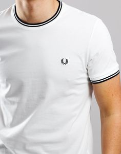 b3865641f93b Fred Perry Tipped T-Shirt Snow White - Terraces Menswear