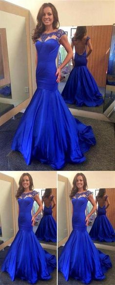 1716a70c6f1a Royal Blue Sleeveless Mermaid Prom Dresses,Open Back Evening Dresses  #promdress #prom #