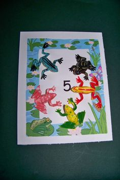 How Many Frogs - Printable Sheets - Tip:  for younger child, cut out and glue down construction paper lily pads around the number (#5 = 5 lily pads) - Dollar Tree has packs of rubber frogs.