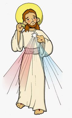 Dibujos para catequesis: JESÚS DIVINA MISERICORDIA Catholic Easter, Catholic Crafts, Catholic Kids, Catholic Saints, Jesus Christ Images, Jesus Art, Faustina Kowalska, Jesus Cartoon, Religion Catolica