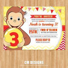 Curious George Birthday Invitation by DesignsbyCassieCM on Etsy, $12.99