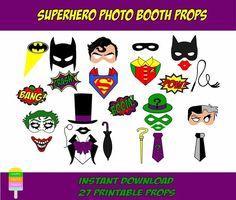 Happy Fiesta Design - Printable Photo Booth Props -Superheroes Photo Booth - Superhero Photo Props  #happyfiestadesign #photobooth #photoprops #printableprops #partyprops #photoboothprops  #superhero #superheroesparty #superheroprops #batman #superman