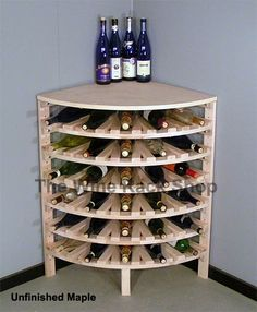 Add a finish to our wood Quarter Round Corner Wine Rack