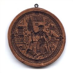 cookie mold/Medieval Spinner.Deeply carved domestic scene. Note the tile stove…