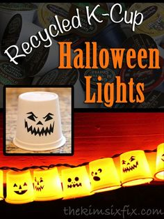 Kuerig K-Cup Recycled Garland (Ghosts By Day, Pumpkins By Night) A great way to use those KCups which can't be recycled via www.TheKimSixFix.com