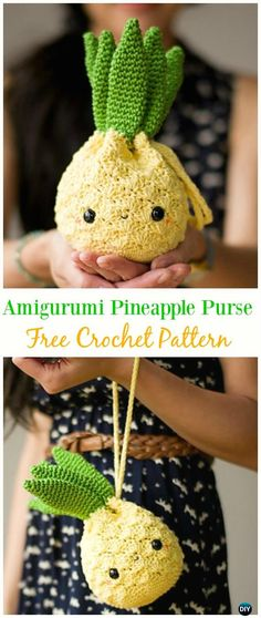 Amigurumi Pineapple Purse Free Crochet Pattern -#Crochet Drawstring #Bags Free Patterns