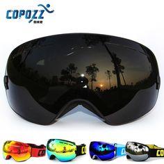 New COPOZZ brand professional ski goggles double lens UV400 anti-fog big spherical ski glasses skiing men women snow goggles