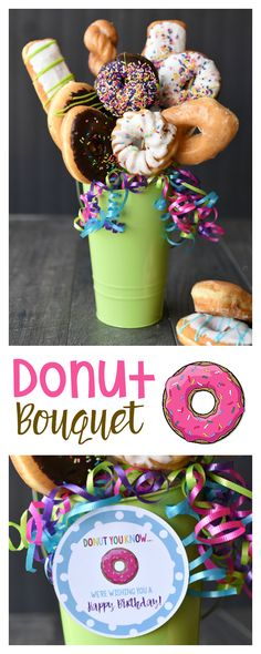 Doughnut Bouquet for an easy and FUN birthday present, gift, or surprise!