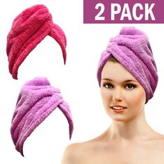 fd580fafa1 Bath Blossom Microfiber Hair Towel Wrap - Fast Drying Head Wraps Turban  Shower Cap Style Pack) For Women and Children -- Check this awesome product  by going ...