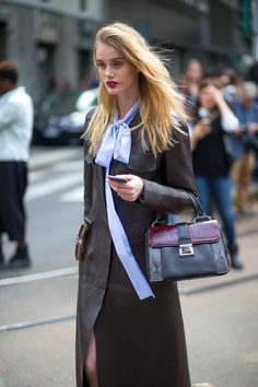 Street Style   Sky Blue Blouse with Black Jacket & Multi Toned Handbag     { Couture /// In the Details