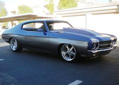 #BecauseSS 1970 Chevelle SS 454 LS6 Project Car. blue and grey. billet wheels hood scoop