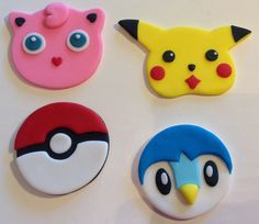 Pokemon Fondant Cupcake Toppers set van 18 door AfterHoursCakery