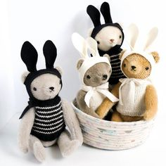 Classic Bears in Knits and Rabbit Ears by Polka Dot Club | Wild & Whimsical Things www.wildandwhimsicalthings.com.au