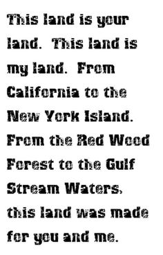 Woodie Guthrie - This Land Is Your Land - song lyrics, music lyrics, song quotes, music quotes, songs