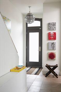Black painted interior doors. Great contrast.
