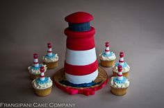 A very personalised wedding cake for a couple getting married in a lighthouse. The gluten free cupcakes matched the design of the vanilla sponge lighthouse cake.