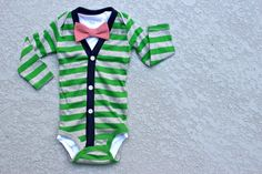 cardigan bow tie onesie. Links to etsy store where you can find just the cardigans!