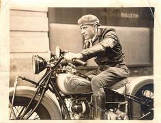 Leslie Van Demark, motorcycle speed king, preparing to be among the first to cross the San Francisco-Oakland Bay Bridge in the opening celeb... Nov. 12, 1936. San Francisco History Center, San Francisco Public Library via Flickr.