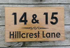 House Number Sign - Large - 380 x House Names, Bramble, Wooden House, Home Signs, Solid Oak, Woodworking, Number, Design, Home Decor