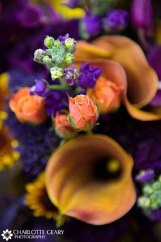 Orange and purple bridal bouquet with mango calla lilies