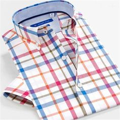 Men Oxford Shirt Slim Fit Cotton Shirt Short Sleeve Summer Shirt