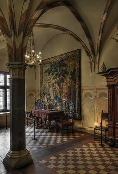 I like this floor in the Gothic Castle in Malbork, Poland (Teutonic Knights' seat; largest Gothic fortress in Europe) Gothic Castle, Fantasy Castle, Medieval Castle, Malbork Castle, Inside Castles, Visit Poland, Gothic Culture, Palace Interior, Medieval Tapestry
