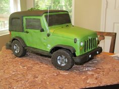 With great pictures of the details on the actual jeep to be modeled, this was a fun cake, with a lot of time spent to p. 3d Cakes, Fondant Cakes, Cupcake Cakes, Mini Cooper Cake, Yellow Jeep Wrangler, Jeep Cake, Disney Princess Birthday Cakes, Chocolate Cake Designs, Dinosaur Birthday Cakes