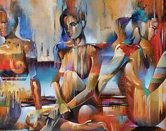 Abstract Figure Art • Figure Painting Reproduction • Trinity • Contemporary Nude Fine Art Print