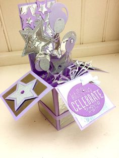 Balloons and stars pop-up birthday celebration-congratulations-silver-wife-mum-mother-sister-daughter-girlfriend Sparkling Stars, Pop Up Box Cards, Large Letters, Graduation Cards, Lets Celebrate, Birthday Cards, Congratulations, 18th, Celebration