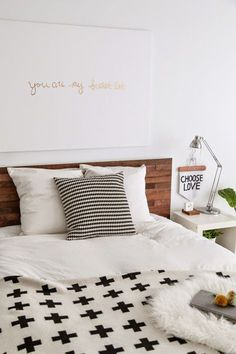 Chic ikea hacks to update your cheap furniture. Ikea hacks to take your bland furniture to chic. These 12 fashionista-approved DIY hacks will help you update your decor and make your Ikea purchases unique. For more DIY project ideas go to Domino. Cama Malm Ikea, Ikea Headboard, Diy Headboards, Headboard Ideas, Reclaimed Headboard, Ikea Pillow, Bed Ikea, Home Bedroom, Bedroom Decor