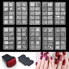 Nail-Art-DIY-Stamp-Stencil-Stamper-Stamping-Image-Template-Plate-10pcs-Set-Tool