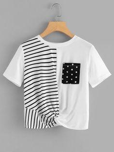 Fashion Tips Outfits Twist Hem Contrast Stripe Tee.Fashion Tips Outfits Twist Hem Contrast Stripe Tee Teen Fashion Outfits, Trendy Outfits, Girl Fashion, Cool Outfits, Fashion Hacks, Classy Fashion, French Fashion, Style Fashion, Fashion Tips