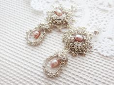 Reserved for Anet Romantic Pink Pearl Dangle Earrings  by sukran, $72.00