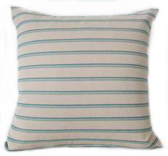 Pillow Cover  Aqua  Teal  Light Beige  Stripes
