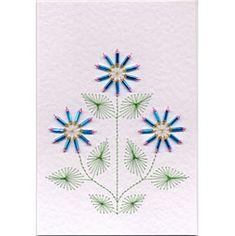Bead Flower 9 - Stitching Cards