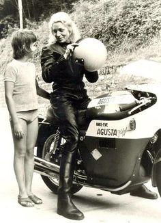 Anke Eve Goldmann and her first MV Agusta 750, a 1973 model with Agostini fairing