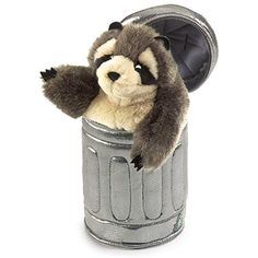 Folkmanis Raccoon In Garbage Can Hand Puppet -- Click image to review more details. (This is an affiliate link) #Puppets
