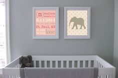 Set of 2 DIY Pink Birth Announcement and Elephant by KateGeary, $8.00