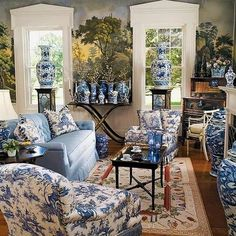 thefoodogatemyhomework:  Ahhhh blue and white, and chintz, and mural overload! My perfect living space!