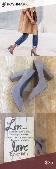 ✨Grey Block Heel Pumps✨ Perfect pointy toe pump with chunky heel. Smooth suede like material. Heel height approximately 4 inches. Shoes Heels